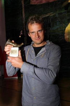 Wojciech Staroń with the Golden Horn award for &quot;Argentinean lesson&quot; during 51st Krakow Film Festival, photography: Tomasz Korczyński<br />